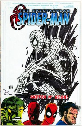 Spectacular Spider-man #1 Jay Company Originals Sketch N Sign Signed Remarked Keu Cha COA #7 Ltd 25